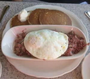 Corned Beef hash, a fattening but tasty breakfast